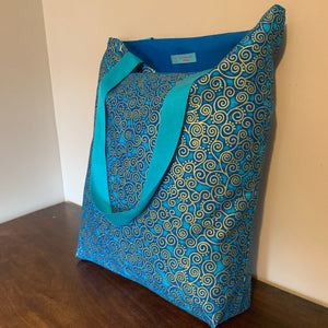 Tote Bag - turquoise and gold curly geo print