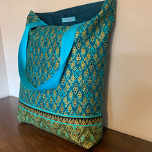Tote Bag - teal and turquoise traditional geometric
