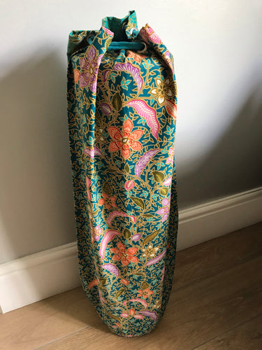 Yoga Mat Bag - turquoise teal pink orange floral batik