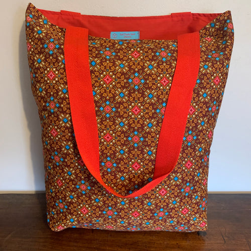 Tote Bag - red, brown, turquoise and mustard geo print