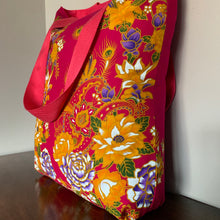 Tote bag - pink, ochre and purple peacock/paisley floral