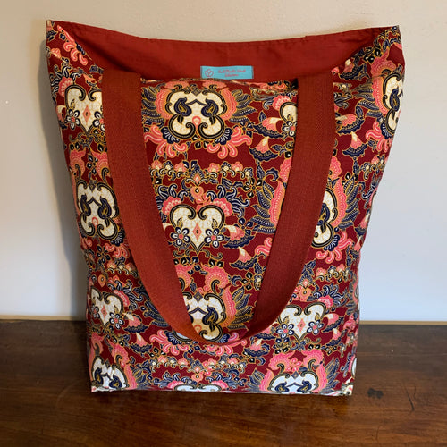 Tote Bag - burgundy, blue, pink and white paisley heart print