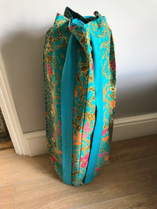 Yoga Mat Bag - teal and bright turquoise floral batik
