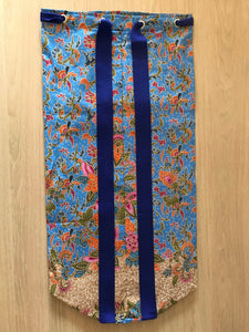 Yoga Mat Bag - chalk blue /orange floral