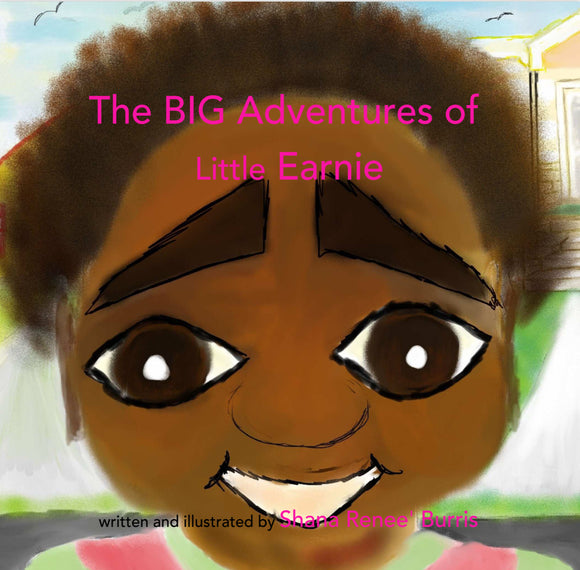 Little African American girl smiling in front of a yellow house with a colorful blue sky