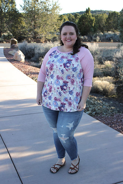 Sunshine Baseball Tee in Mauve