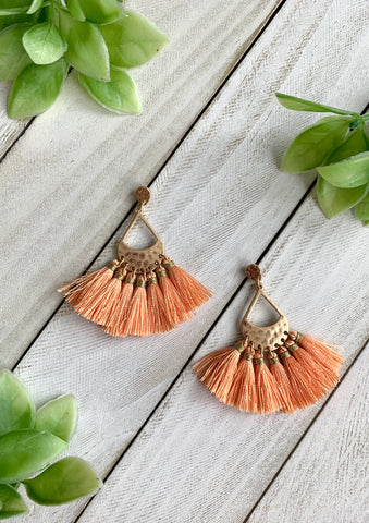 Teardrop Tassel Earrings - Sherbet Orange