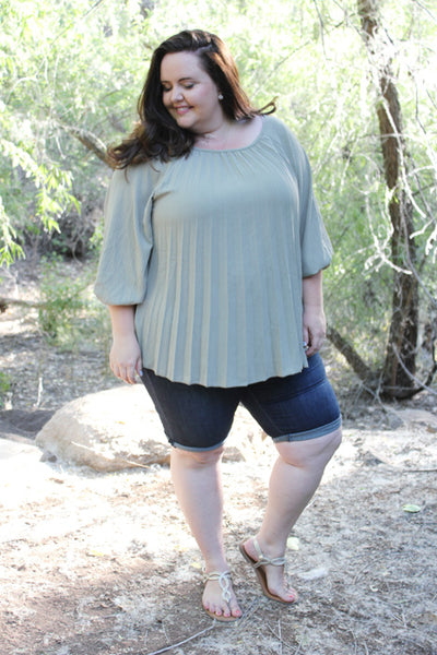 Pleated Blouse in Sage