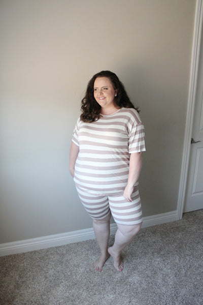 Bella Loungewear Set in Mauve Stripes