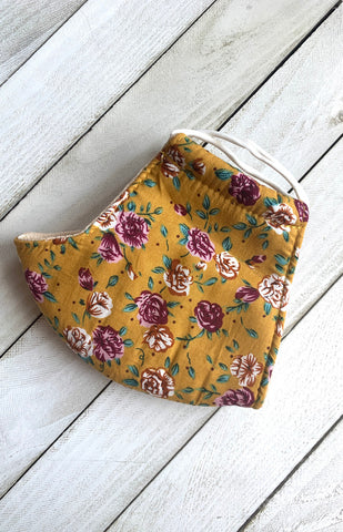 Magenta Yellow Floral Cotton Face Mask