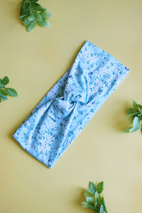 Light Blue Mini Floral Brainy Melon® Head Wrap
