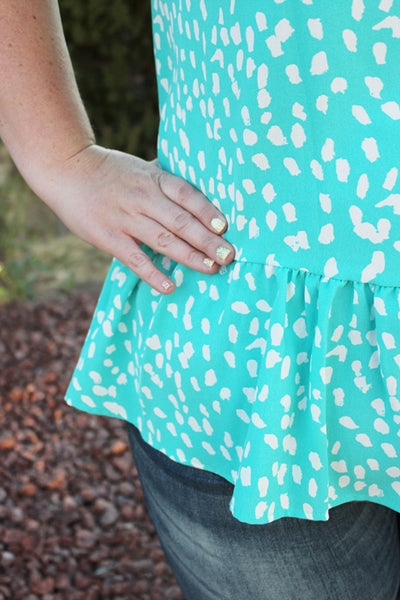 Anna Blouse with Ruffle Hem in Teal
