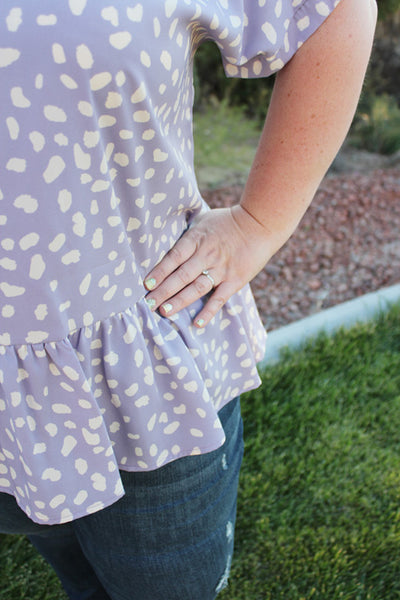 Anna Blouse with Ruffle Hem in Lavender