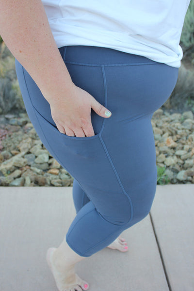 Blue denim plus size crop leggings really soft true to size