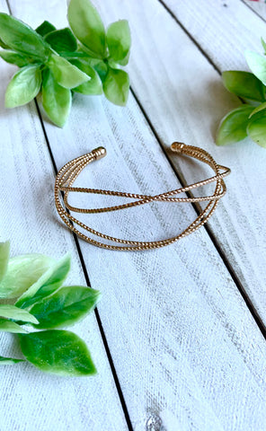 Cleo Twisted Gold Cuff Bracelet