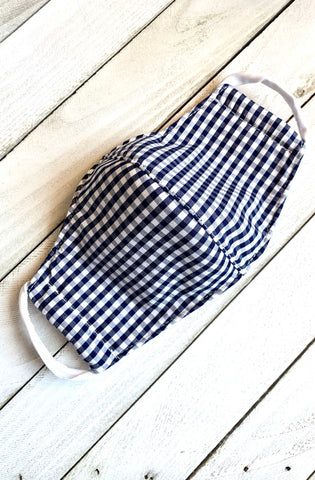 Navy Gingham Child's Face Mask