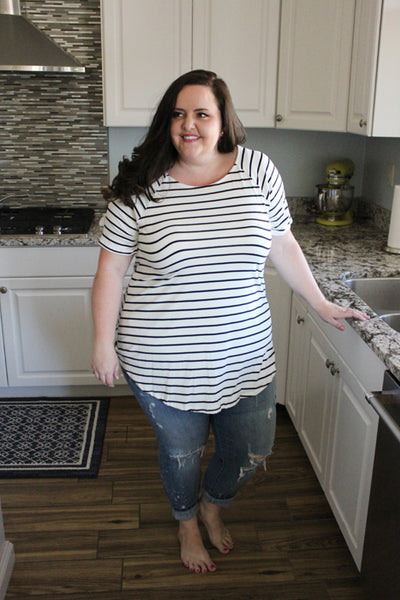 Striped Day Tunic Tee in Ivory