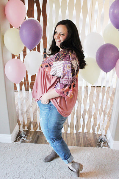 Mauve Ruffle Sleeve Top