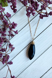 Black Oval Natural Stone Pendant