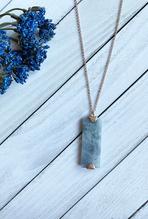 Stone Rectangle Pendant in Grey