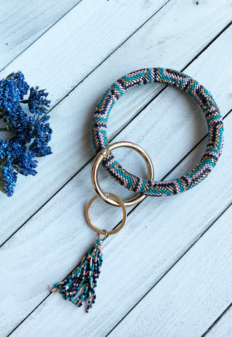 Seed Beaded Keychain - Teal Multi