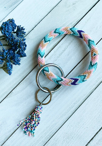 Seed Beaded Keychain - Chevron Multi
