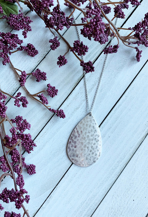 Hammered Teardop Pendant in Silver