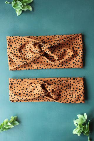 Pumpkin Spice Polkadot Brainy Melon® Headband and Wrap