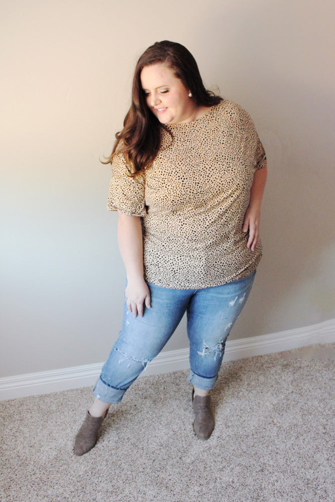 Cheetah Tee in Taupe