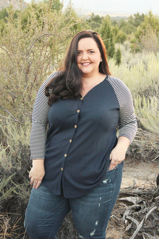 Thermal Button Tunic in Navy