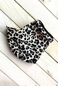 Black and White Leopard Face Mask