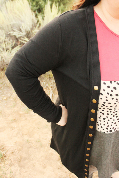 Autumn Long Snap Button Cardigan in Black