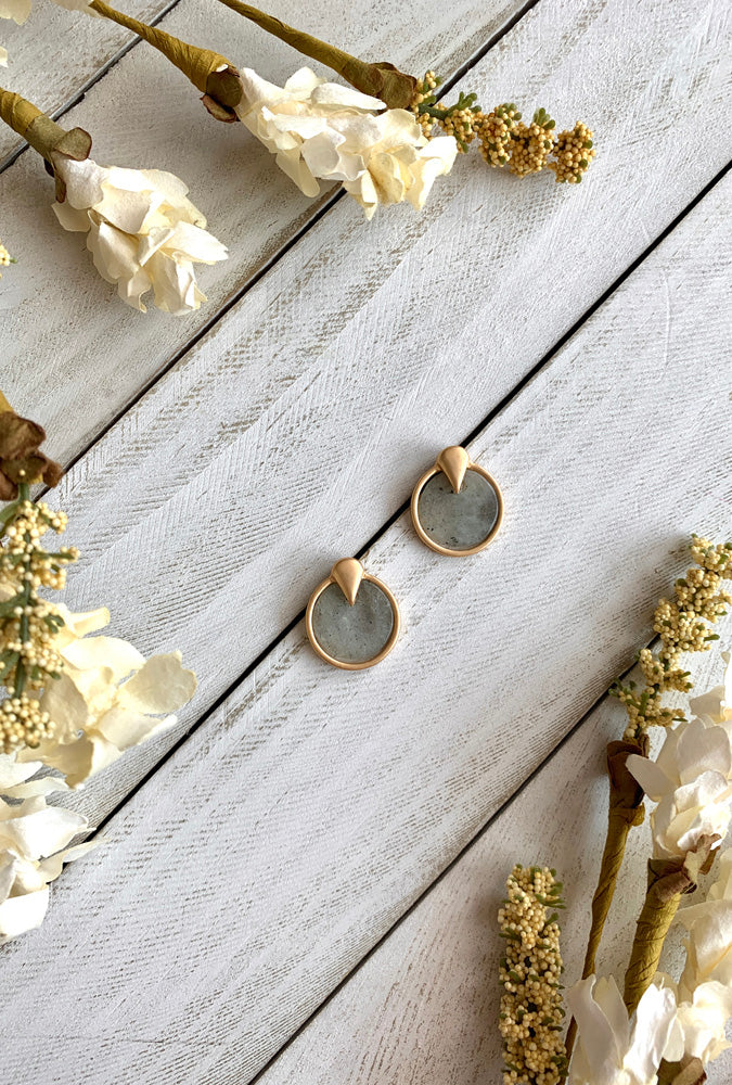 Grey Stone Ring Earrings