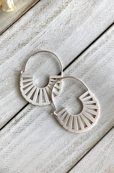 Silver Matte Plated Hoop Earrings