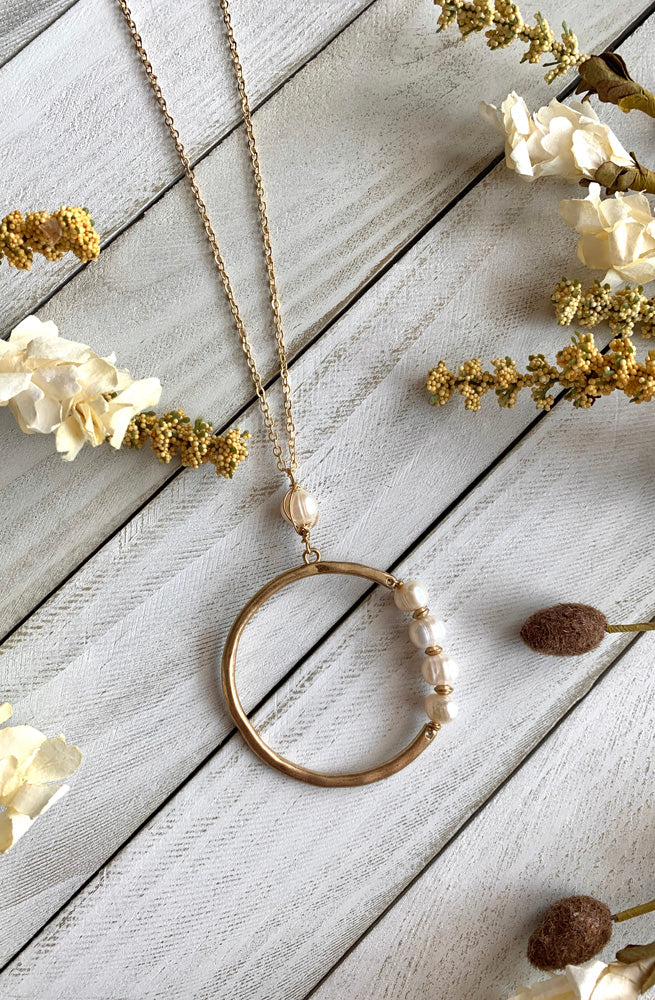 Pearl Ring Pendant Necklace