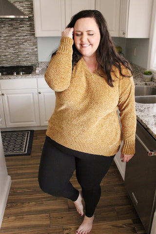 Hey Lady Chenille Sweater in Mustard (1X-4X)