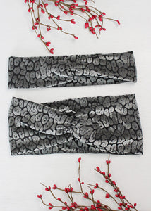 Black Animal Print Brainy Melon® Headband & Wrap