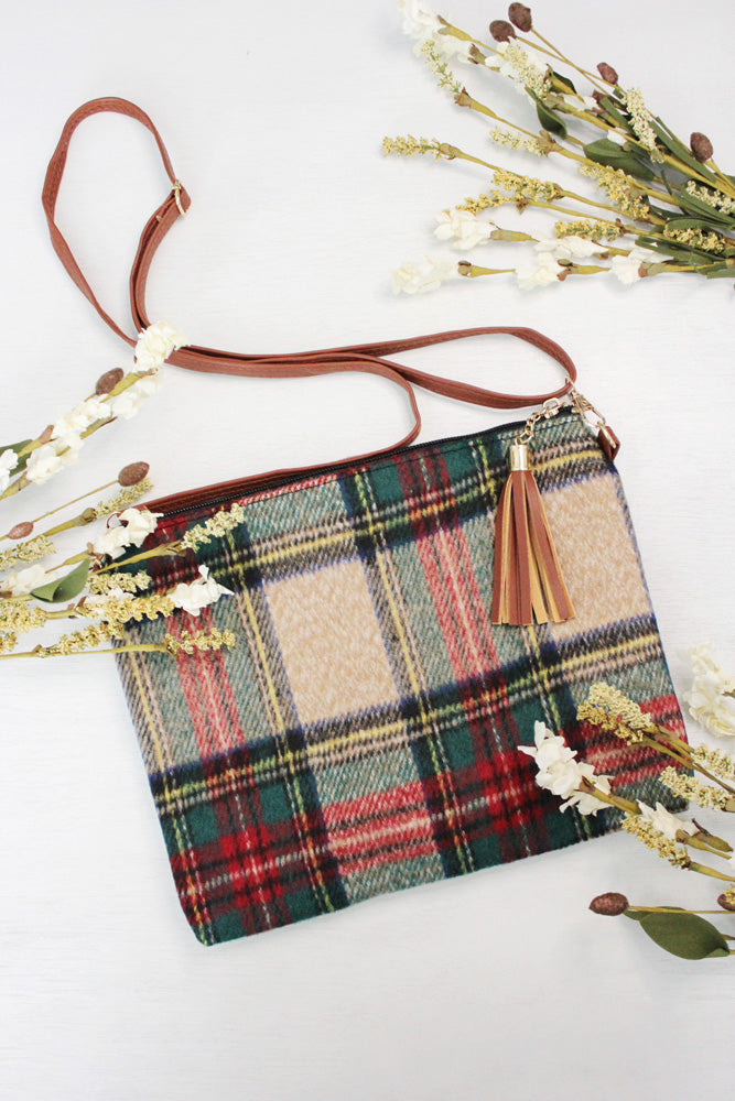 Plaid Crossbody Clutch Bag