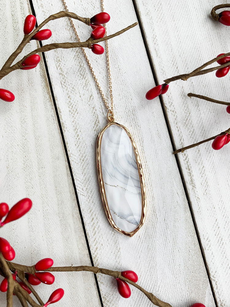 White Marbled Pendant