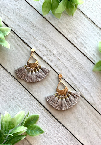 Teardrop Tassel Earrings - Grey