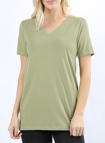 Cotton V-neck Tee *multiple colors*