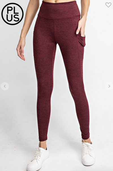 Heathered Willow Perfect Leggings in Burgundy