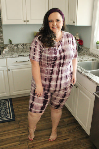 Bella Loungewear Set in Plum Tie Dye
