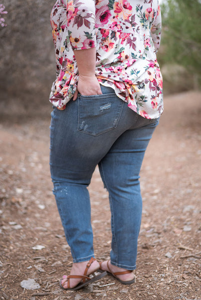 Plus size relaxed distressed jeans