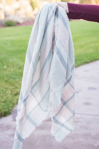 Light Grey and Pink Plaid Scarf