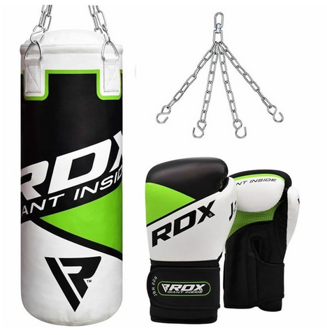RDX 2FT GREEN KIDS PUNCH BAG & GLOVES SET