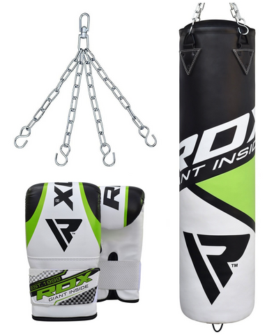 RDX F11 FILLED BLACK & WHITE PUNCH BAG WITH BAG GLOVES