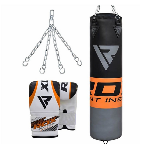 RDX F12 FILLED ORANGE PUNCH BAG WITH BAG GLOVES