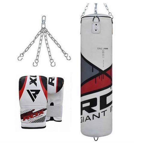 RDX F7 FILLED EGO RED PUNCH BAG & BAG MITTS