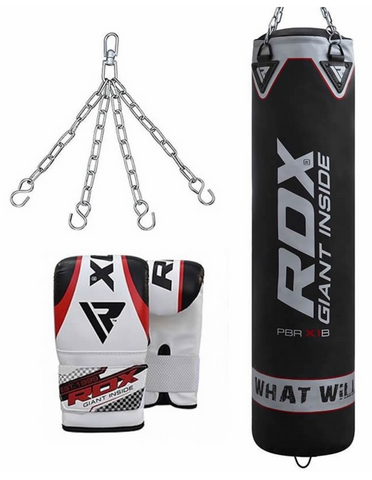 RDX X1 FILLED BLACK PUNCH BAG & BAG GLOVES